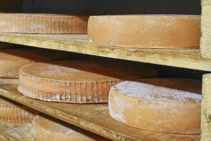 Созревание сыра в специальной сырной пещере.