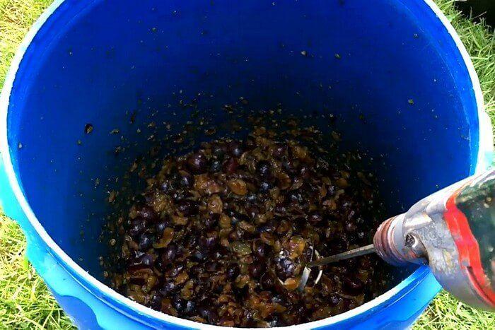 Измельчение слив дрелью для приготовления браги.